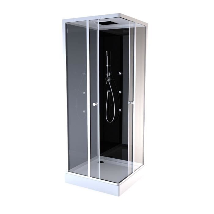 Achat Cabine De Douche Color Square Black 90x90x230cm